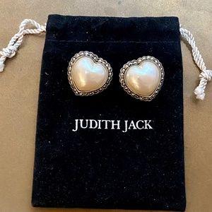 JUDITH JACK Heart Moby Pearl RARE! Silver Earrings